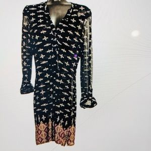 LILY MORGAN Tunic Dress Sheer Black V-Neck EUC L